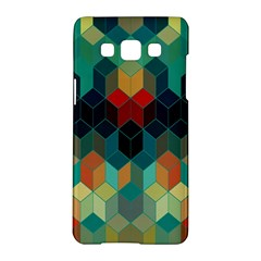 Colorful Modern Geometric Cubes Pattern Samsung Galaxy A5 Hardshell Case  by Dushan