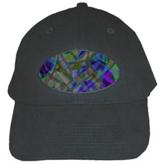 Colorful Abstract Stained Glass G301 Black Cap by MedusArt