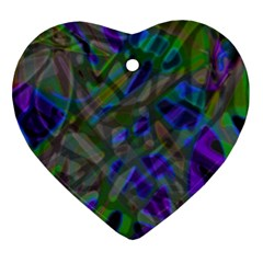 Colorful Abstract Stained Glass G301 Ornament (heart)  by MedusArt