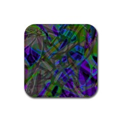 Colorful Abstract Stained Glass G301 Rubber Coaster (square)  by MedusArt