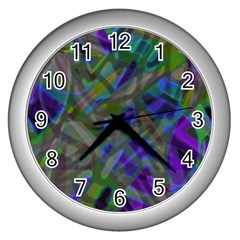 Colorful Abstract Stained Glass G301 Wall Clocks (silver)  by MedusArt