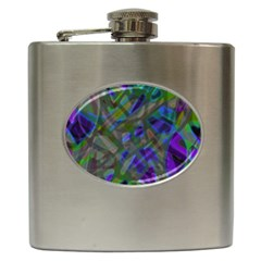 Colorful Abstract Stained Glass G301 Hip Flask (6 Oz) by MedusArt