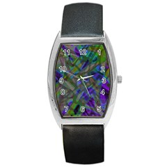 Colorful Abstract Stained Glass G301 Barrel Metal Watches by MedusArt