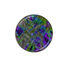 Colorful Abstract Stained Glass G301 Hat Clip Ball Marker by MedusArt