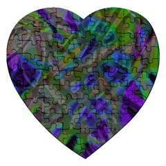 Colorful Abstract Stained Glass G301 Jigsaw Puzzle (heart) by MedusArt