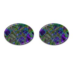 Colorful Abstract Stained Glass G301 Cufflinks (oval) by MedusArt