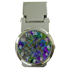 Colorful Abstract Stained Glass G301 Money Clip Watches by MedusArt