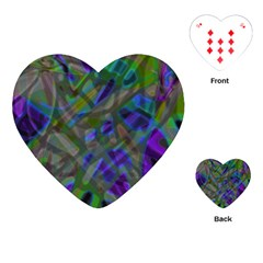 Colorful Abstract Stained Glass G301 Playing Cards (heart)  by MedusArt