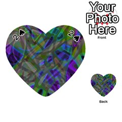 Colorful Abstract Stained Glass G301 Playing Cards 54 (heart)  by MedusArt
