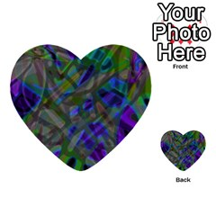 Colorful Abstract Stained Glass G301 Multi Purpose Cards (heart)  by MedusArt