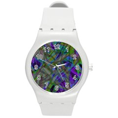 Colorful Abstract Stained Glass G301 Round Plastic Sport Watch (m) by MedusArt