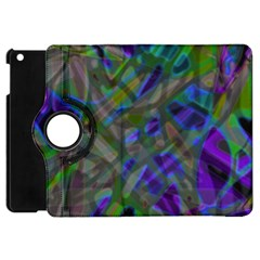 Colorful Abstract Stained Glass G301 Apple Ipad Mini Flip 360 Case by MedusArt