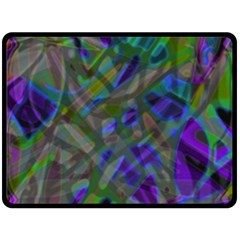Colorful Abstract Stained Glass G301 Double Sided Fleece Blanket (large)  by MedusArt
