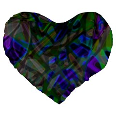 Colorful Abstract Stained Glass G301 Large 19  Premium Flano Heart Shape Cushions by MedusArt