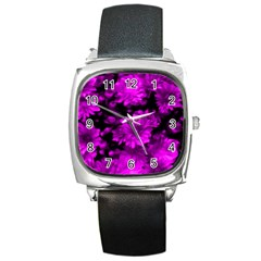 Phenomenal Blossoms Hot  Pink Square Metal Watches by MoreColorsinLife