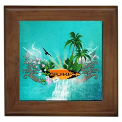 Surfboard With Palm And Flowers Framed Tiles by FantasyWorld7