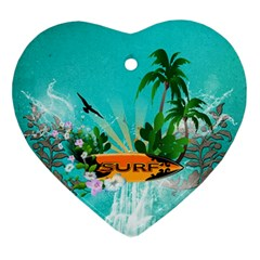 Surfboard With Palm And Flowers Ornament (heart)