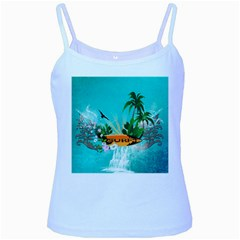 Surfboard With Palm And Flowers Baby Blue Spaghetti Tanks