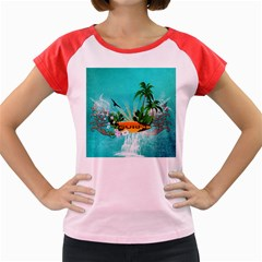 Surfboard With Palm And Flowers Women s Cap Sleeve T Shirt by FantasyWorld7