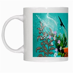 Surfboard With Palm And Flowers White Mugs by FantasyWorld7