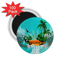 Surfboard With Palm And Flowers 2 25  Magnets (100 Pack)  by FantasyWorld7