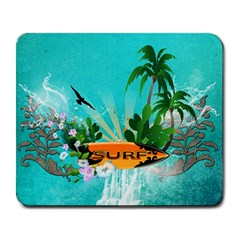 Surfboard With Palm And Flowers Large Mousepads by FantasyWorld7