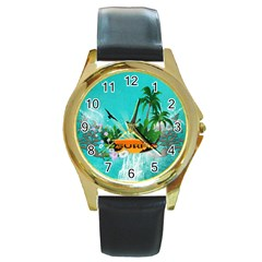 Surfboard With Palm And Flowers Round Gold Metal Watches by FantasyWorld7