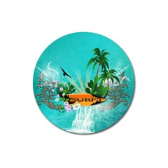 Surfboard With Palm And Flowers Magnet 3  (round) by FantasyWorld7