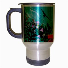 Surfboard With Palm And Flowers Travel Mug (silver Gray) by FantasyWorld7