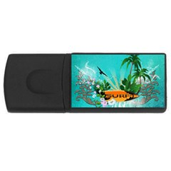 Surfboard With Palm And Flowers Usb Flash Drive Rectangular (4 Gb)  by FantasyWorld7