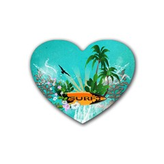 Surfboard With Palm And Flowers Heart Coaster (4 Pack)  by FantasyWorld7
