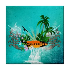 Surfboard With Palm And Flowers Face Towel by FantasyWorld7