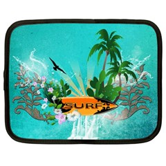 Surfboard With Palm And Flowers Netbook Case (xl)  by FantasyWorld7