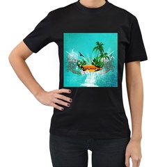 Surfboard With Palm And Flowers Women s T-shirt (black) by FantasyWorld7