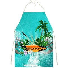 Surfboard With Palm And Flowers Full Print Aprons by FantasyWorld7