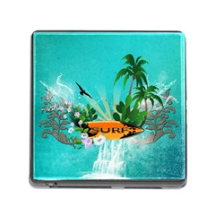 Surfboard With Palm And Flowers Memory Card Reader (square) by FantasyWorld7