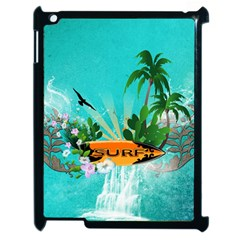 Surfboard With Palm And Flowers Apple Ipad 2 Case (black) by FantasyWorld7
