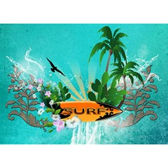 Surfboard With Palm And Flowers Birthday Cake 3d Greeting Card (7x5)  by FantasyWorld7