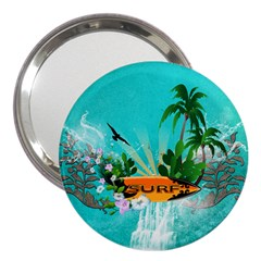 Surfboard With Palm And Flowers 3  Handbag Mirrors by FantasyWorld7