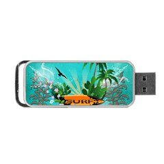 Surfboard With Palm And Flowers Portable Usb Flash (two Sides) by FantasyWorld7