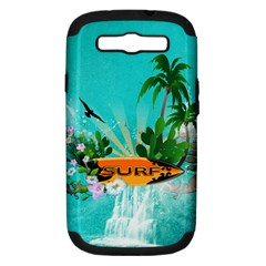 Surfboard With Palm And Flowers Samsung Galaxy S Iii Hardshell Case (pc+silicone) by FantasyWorld7