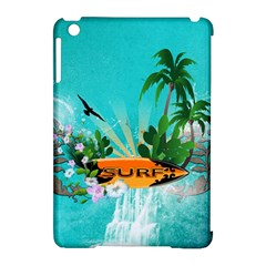 Surfboard With Palm And Flowers Apple Ipad Mini Hardshell Case (compatible With Smart Cover) by FantasyWorld7