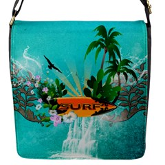 Surfboard With Palm And Flowers Flap Messenger Bag (s) by FantasyWorld7
