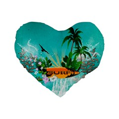 Surfboard With Palm And Flowers Standard 16  Premium Flano Heart Shape Cushions by FantasyWorld7