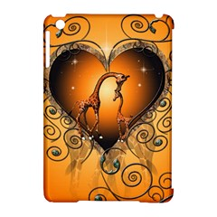 Funny Cute Giraffe With Your Child In A Heart Apple Ipad Mini Hardshell Case (compatible With Smart Cover) by FantasyWorld7
