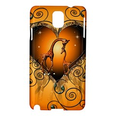 Funny Cute Giraffe With Your Child In A Heart Samsung Galaxy Note 3 N9005 Hardshell Case by FantasyWorld7