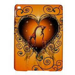 Funny Cute Giraffe With Your Child In A Heart Ipad Air 2 Hardshell Cases by FantasyWorld7