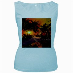 Wonderful Sunset In  A Fantasy World Women s Baby Blue Tank Tops by FantasyWorld7