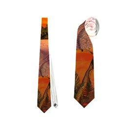 Wonderful Sunset In  A Fantasy World Neckties (two Side)  by FantasyWorld7