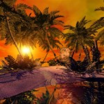Wonderful Sunset In  A Fantasy World Congrats Graduate 3D Greeting Card (8x4)  Inside